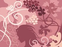 Floral Background Series. Vector background with floral ornaments and a woman silhouette royalty free illustration