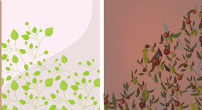 Floral background set with leaves Royalty Free Stock Photos