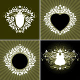 Floral background shields. Abstract floral background shields, vector illustration, this illustration may be useful as designer work Royalty Free Stock Image