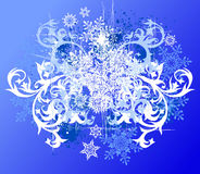 Floral background & snowflakes Royalty Free Stock Image