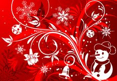 Floral background with snowman Royalty Free Stock Photo