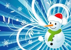 Floral background with snowman Stock Photos