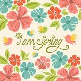 Floral background, spring lettering, greeting card Royalty Free Stock Photos