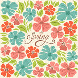 Floral background, spring lettering, greeting card Stock Photography