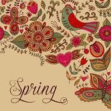 Floral background, spring theme, greeting card. Template design Stock Photo