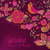 Floral background,  spring theme, greeting card. Template design Royalty Free Stock Photography