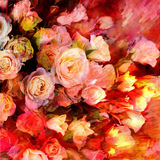 Floral background with stylized bouquet of roses Stock Photography