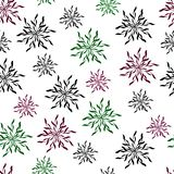 Floral background of stylized crystals and snowflakes. stock illustration
