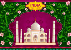 Floral background with Taj Mahal showing Incredible India Stock Image