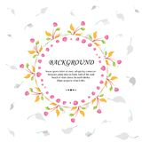 Floral Background Template with Leaves, Branches, and Fruits royalty free illustration