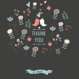 Floral background. Thank you card on floral background with cute birds and flowers Royalty Free Stock Photos