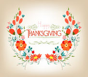 Floral background thanksgiving greeting card with decorative flowers vector illustration
