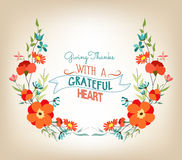Floral background thanksgiving greeting card with decorative flowers Stock Photo