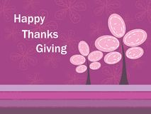 Floral background with thanksgiving text and tree Royalty Free Stock Photo