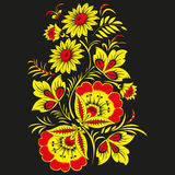 Floral  background in traditional Russian Khokhloma style. Stock Photo