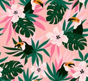 Floral background with tropical flowers, leaves and toucans. Vector seamless pattern for fabric design. royalty free illustration