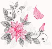 Floral background in vector. Illustration of floral background with butterfly Stock Photos