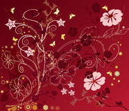 Floral Background - vector. Floral Background  in red - vector Stock Photo