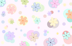 Floral background (vector). Background with lots of colorful flowers and circles stock illustration
