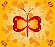 Floral  background - vector. Floral  background with butterflies - vector Royalty Free Stock Images
