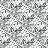 Floral background in vector for coloring book page or textile design. Seamless pattern Royalty Free Stock Photo