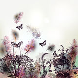Floral background with vector feathers and plants Royalty Free Stock Image