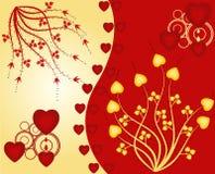 Floral Background - vector illustration. Floral Background in yellow and red - vector illustration vector illustration