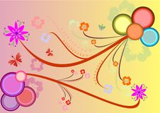 Floral background, vector illustration. A lot of colourful flowers and circles on a yellow and pink background Stock Image