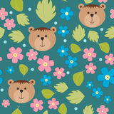 Floral background, vector pattern with forget-me-not flowers, teddy bears. Seamless vector pattern for cushion, pillow, bandanna, Royalty Free Stock Photos