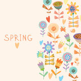 Floral background in vector. Spring flowers. Cartoon floral background in vector. Spring concept card in bright colors Royalty Free Stock Photos