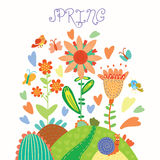 Floral background in vector. Spring flowers. Cartoon floral background in vector. Spring concept card in bright colors Stock Photo