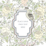 Floral background. Veniette border with roses and bird. Stock Photos