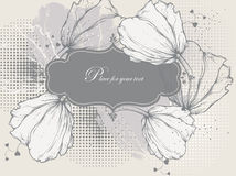 Floral background with a vintage frame and tulips stock illustration