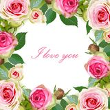 Floral Background with Vintage Label. Stock Photo