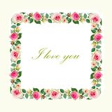 Floral Background with Vintage Label. Stock Photography