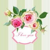 Floral Background with Vintage Label. Stock Image