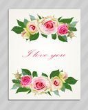 Floral Background with Vintage Label. Royalty Free Stock Photo