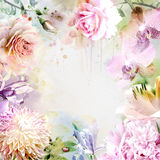 Floral background with watercolor bouquet Stock Images