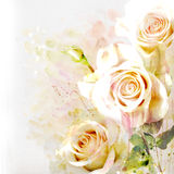 Floral background with watercolor bouquet Stock Photography