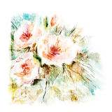 Floral background. Watercolor floral bouquet. Birthday card. Gentle watercolor background. Abstract art illustration Royalty Free Stock Images