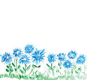 Floral background with watercolor flowers Stock Photo