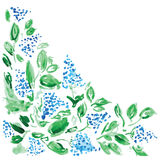 Floral background with watercolor flowers Stock Image