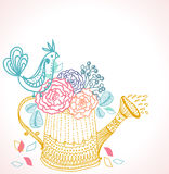 Floral background with watering can and bird Stock Photo