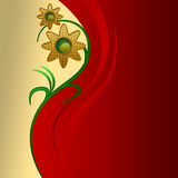 Floral background waves. Red floral waves background with gradients and cut paper like effects with illusion of depth royalty free illustration