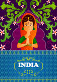 Floral background with Welcome gesture hands of Indian woman showing Incredible India Royalty Free Stock Photos