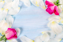 Floral background with white petals and roses. Royalty Free Stock Photo