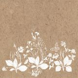 Floral background with wildflowers, herbs, bees,butterfly  and space for text on kraft paper. Invitation, greeting card