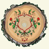 Floral background with wood texture and ornament Royalty Free Stock Photography