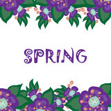 Floral background with the word spring Stock Image