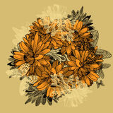 Floral background with yellow chrysanthemums and butterflies. Ha Royalty Free Stock Photography